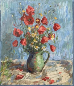 Poppies, Light Blue