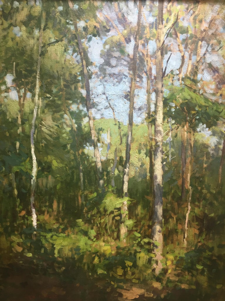 A contemporary oil painting of a wooded area on a sunny clear skied day. Bright green hues fill the canvas, in wide, urgent brushstrokes. A bright blue sky peeks through the canopy. Painted en plein air, at Mashomack Nature Preserve on Shelter
