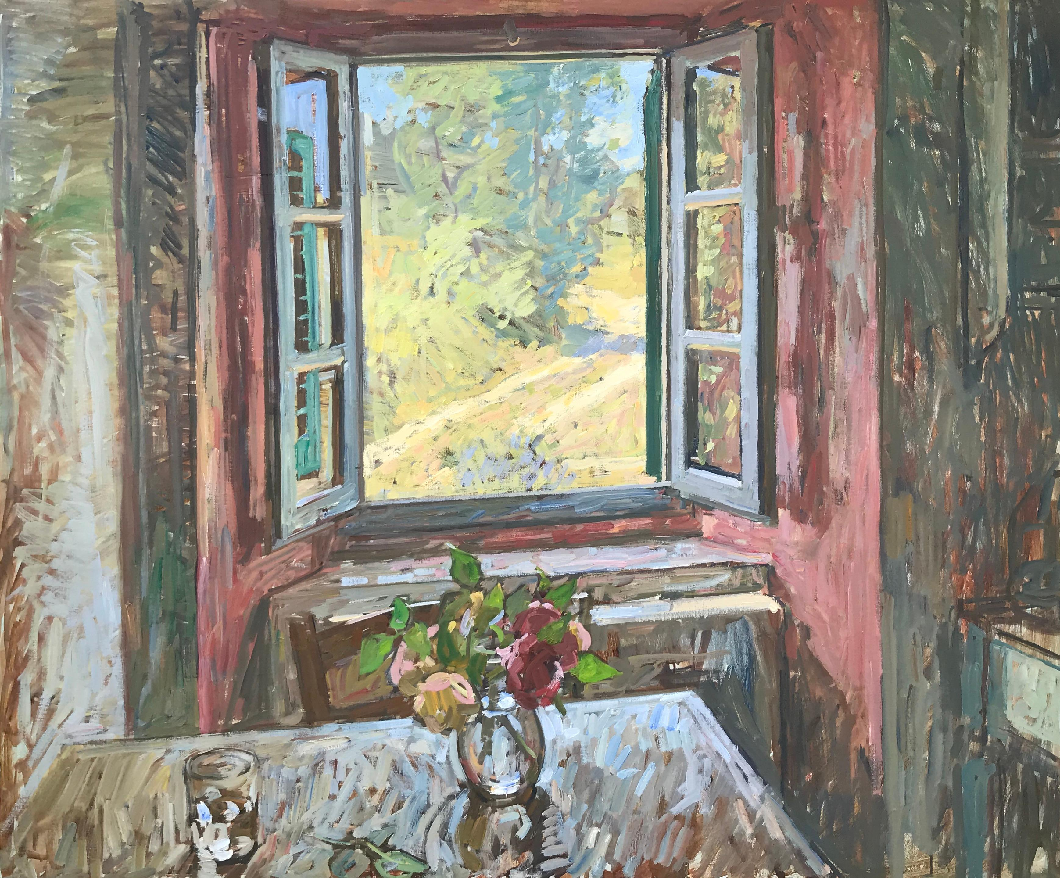 Water, Roses, Window, Table
