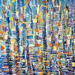 Abstract Impressionist Painting. Title - Harbor Reflections