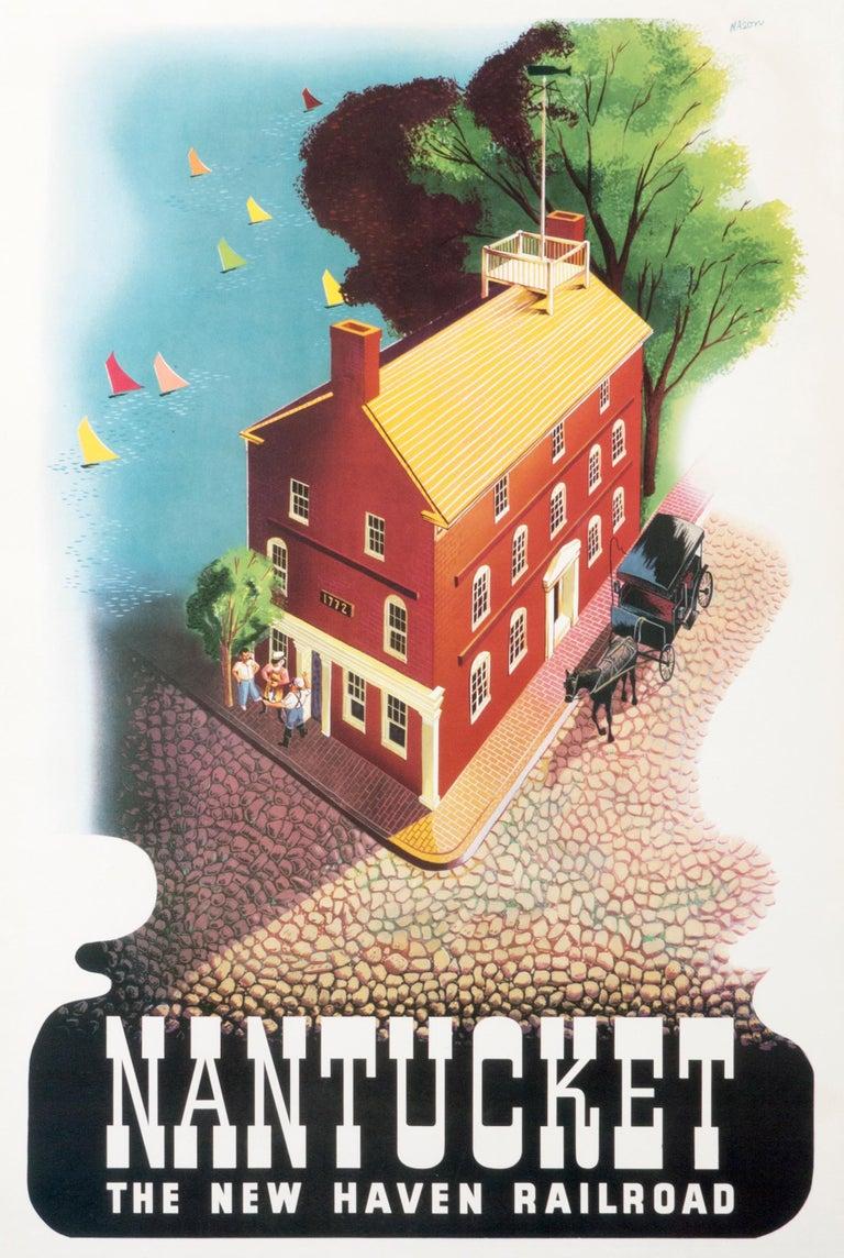 """Nantucket - The New Haven Railroad"" Original Vintage Railroad Poster - Print by Ben Nason"