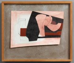 Pink, Red and Black - 20th Century, Ink & oil on paper by Ben Nicholson