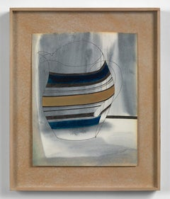 Striped Jug - 20th Century, Mixed media on paper by Ben Nicholson