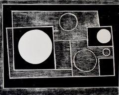 Five Circles - British artist, woodcut, geometric figures