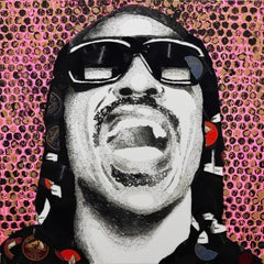 Stevie Wonder - Pop Art Painting with Vinyl Records on Canvas