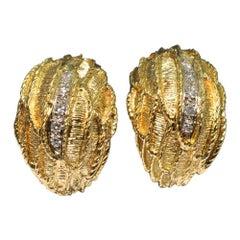 Ben Rosenfeld 18 Carat Gold Diamond Clip-On Earrings