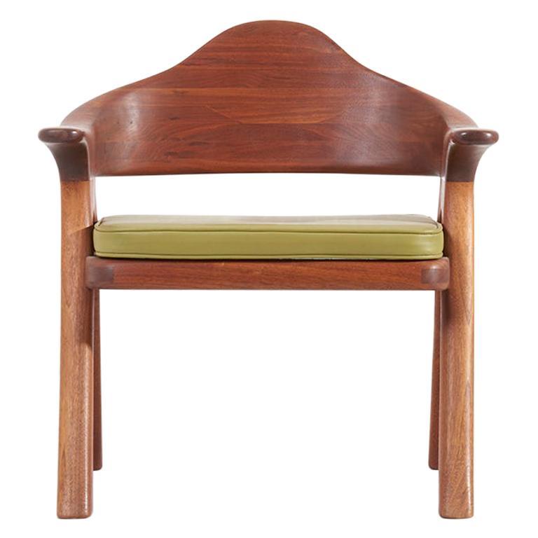 Ben Rouzie 1970s Studio Lounge Chair in Solid Walnut