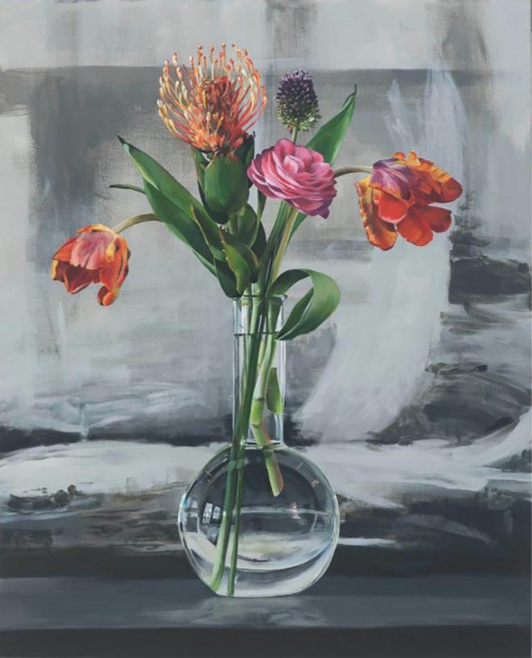 Ben Schonzeit Still-Life Painting - Grappa Flask Run
