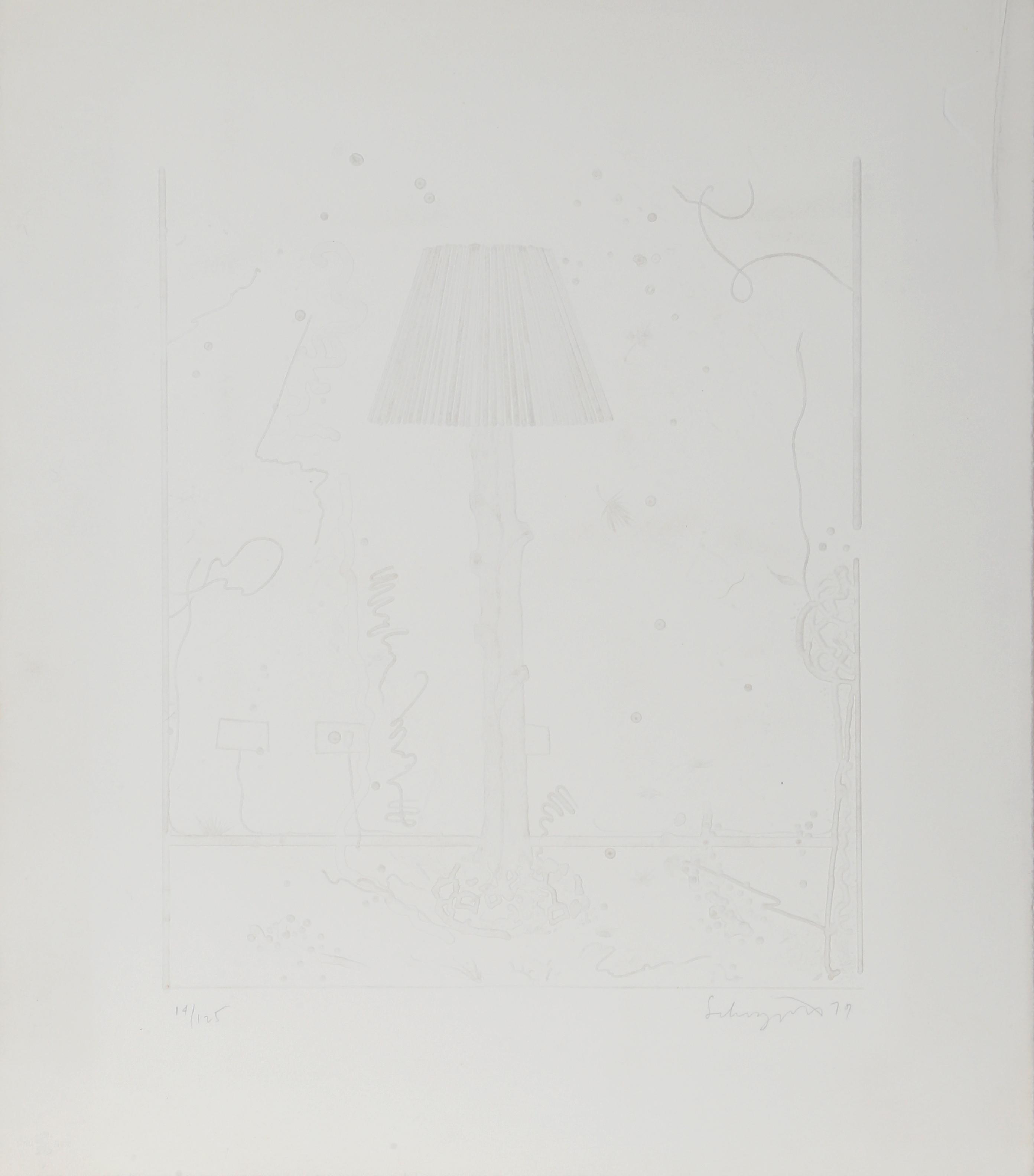 """""""Lamps (White)"""", 1979, Intaglio by Ben Schonzeit"""