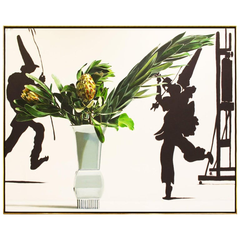 """Ben Schonzeit """"Two Protea"""" Large Acrylic on Canvas, 1989 'Signed' For Sale"""