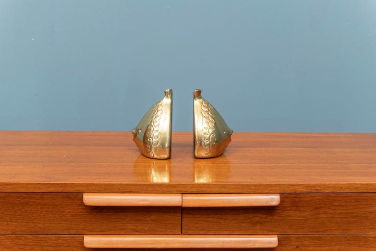 Pair of Ben Seibel design brass fish motif bookends, super cute!