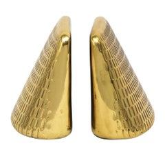 Ben Seibel Brass Bookends Jenfred, Ware Impressed Wedge USA, 1950s
