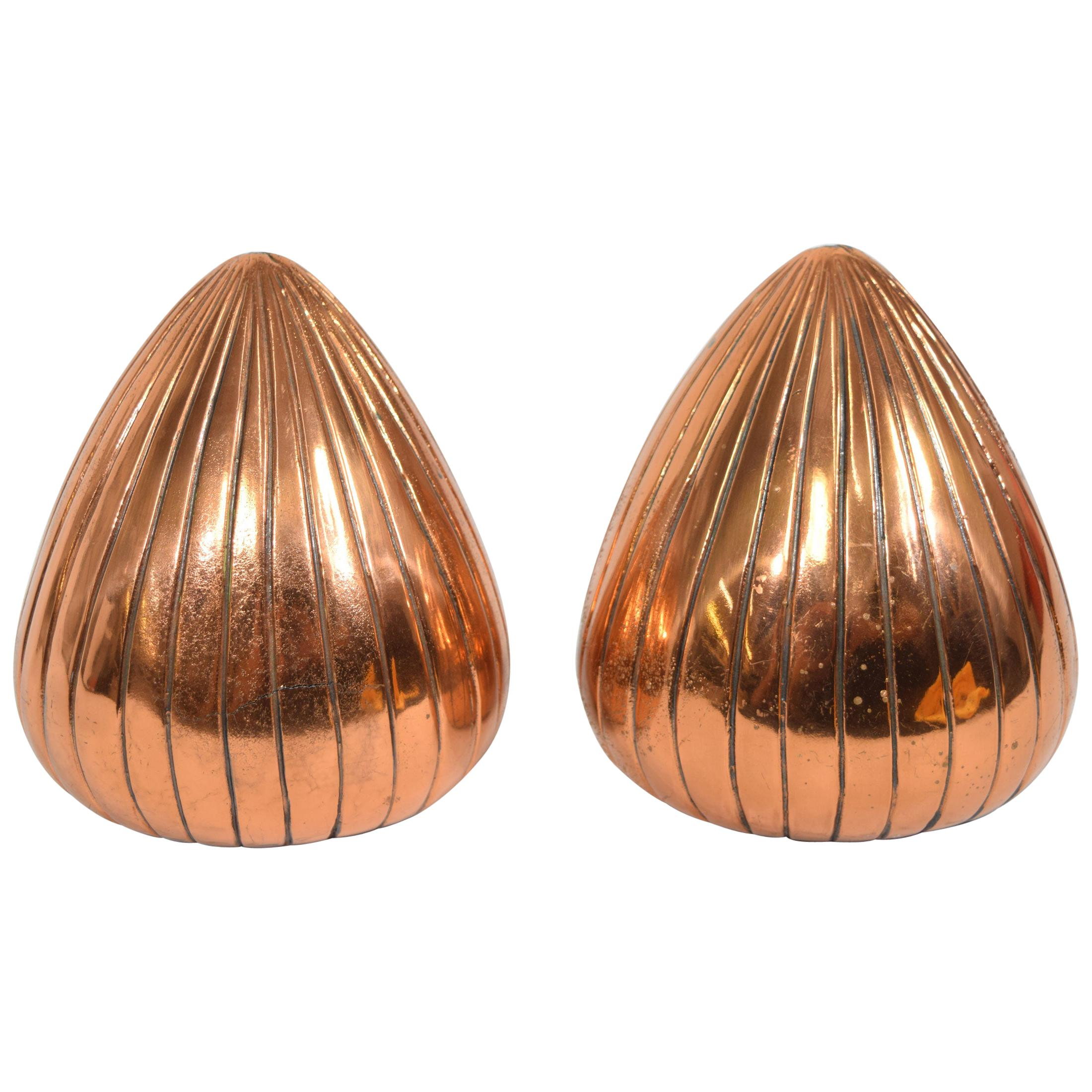 """Ben Seibel """"Clam"""" Bookends in a Copper Finish"""