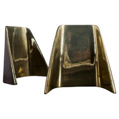 Ben Seibel Convex Shovel Brass-Plated Bookends Architectural Midcentury