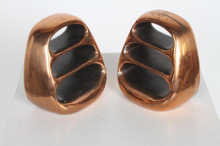 Ben Seibel for Jenfred-Ware Copper Sculptural Ladder Bookends For Sale 2
