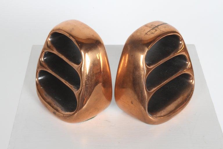 Ben Seibel for Jenfred-Ware Copper Sculptural Ladder Bookends For Sale 5