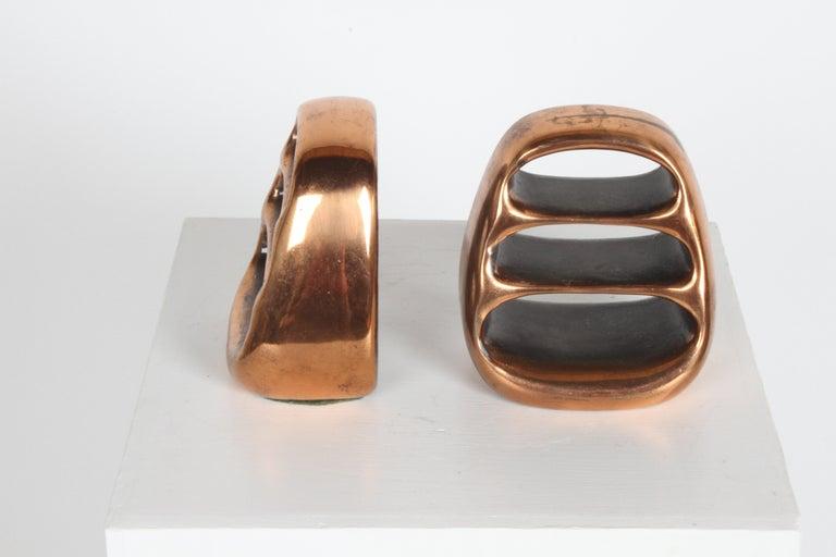Mid-Century Modern Ben Seibel for Jenfred-Ware Copper Sculptural Ladder Bookends For Sale