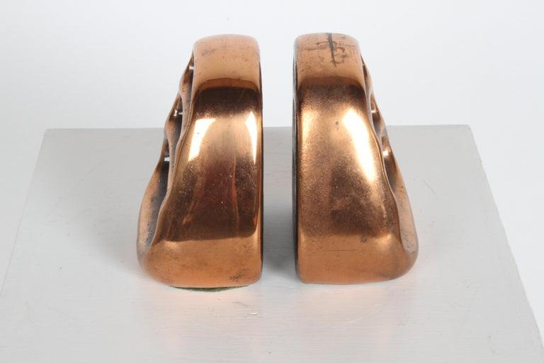 Plated Ben Seibel for Jenfred-Ware Copper Sculptural Ladder Bookends For Sale