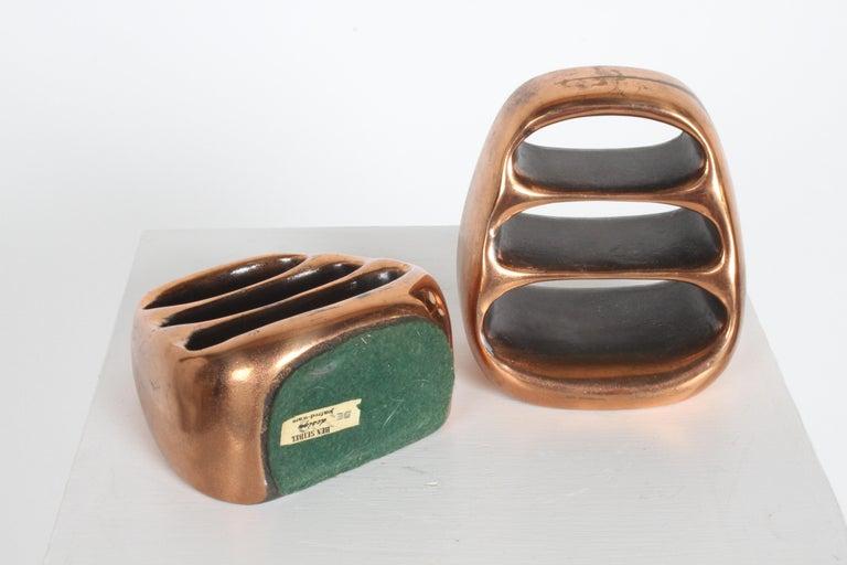 Mid-20th Century Ben Seibel for Jenfred-Ware Copper Sculptural Ladder Bookends For Sale