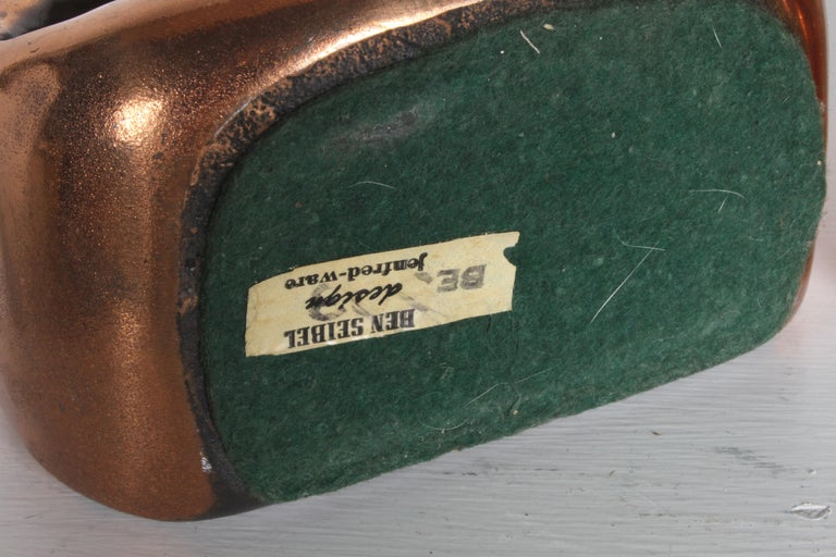 Ben Seibel for Jenfred-Ware Copper Sculptural Ladder Bookends For Sale 1