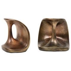 Ben Seibel Modernist Bronze Bookends
