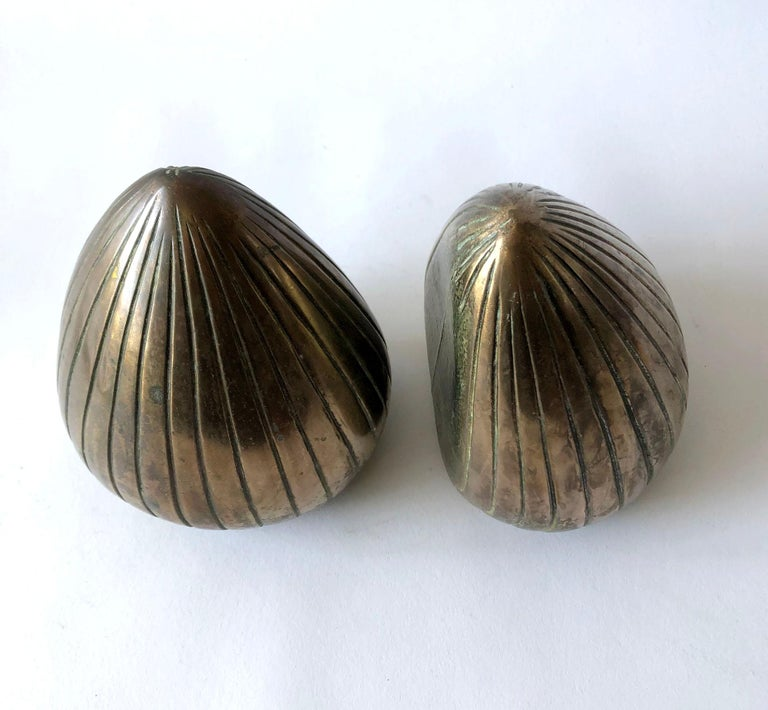 Mid-Century Modern Ben Seibel Raymor Brass Clam Shell Modernist Bookends For Sale