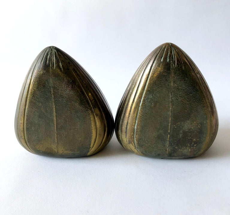 American Ben Seibel Raymor Brass Clam Shell Modernist Bookends For Sale