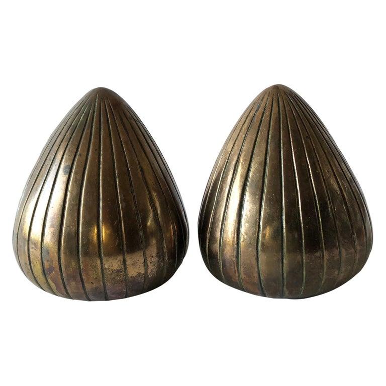 Ben Seibel Raymor Brass Clam Shell Modernist Bookends For Sale