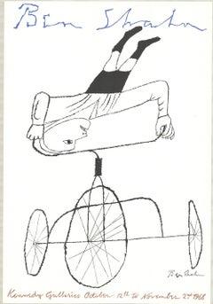 1968 After Ben Shahn 'Kennedy Galleries' Modernism Black & White USA Lithograph