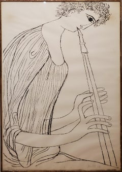 "Ben Shahn Lithograph of ""Boy Playing Double Oboe from Hallelujah"""