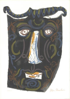 """Ben Shahn-Mask (The Mask of the Women with the Comb)-29.75"""" x 21""""-Serigraph-1963"""