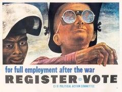 """For Full Employment After the War"" Original Vintage Labor Poster"