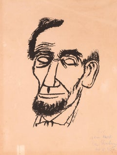 Portrait of Lincoln - Hand signed and Dedicated Print by Ben Shahn - 1955