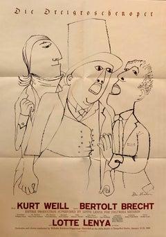 Vintage 1950s Ben Shahn Poster Brecht Threepenny Opera