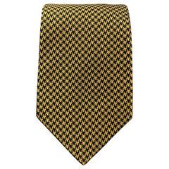 BEN SILVER Yellow Gold & Navy Houndstooth Silk Tie