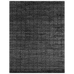 Ben Soleimani Alia Rug– Hand-woven Chevron Wool + Viscose Black/Gray 10'x14'