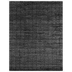 Ben Soleimani Alia Rug– Hand-woven Chevron Wool + Viscose Black/Gray 12'x15'