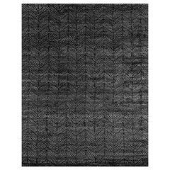 Ben Soleimani Alia Rug– Hand-woven Chevron Wool + Viscose Black/Gray 6'x9'