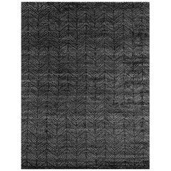 Ben Soleimani Alia Rug– Hand-woven Chevron Wool + Viscose Black/Gray 8'x10'