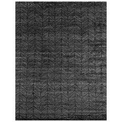 Ben Soleimani Alia Rug– Hand-woven Chevron Wool + Viscose Black/Gray 9'x12'
