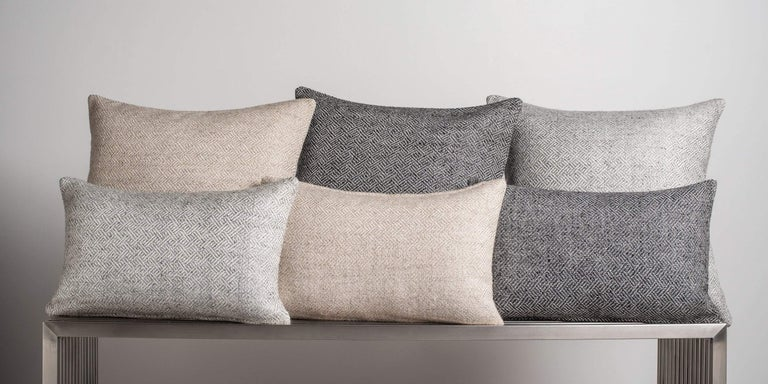 The perfect accent pillow, woven with a subtly modern angled diamond graphic is full of texture and depth creating contrast when paired with our sumptuous cashmere pillows. Pillow insert sold separately.