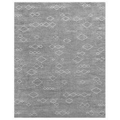 Ben Soleimani Arisa Rug– Moroccan Hand-knotted Plush Wool Carbon/Mist 8'x10'