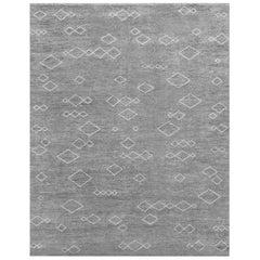 Ben Soleimani Arisa Rug– Moroccan Hand-knotted Plush Wool Carbon/Mist 6'x9'