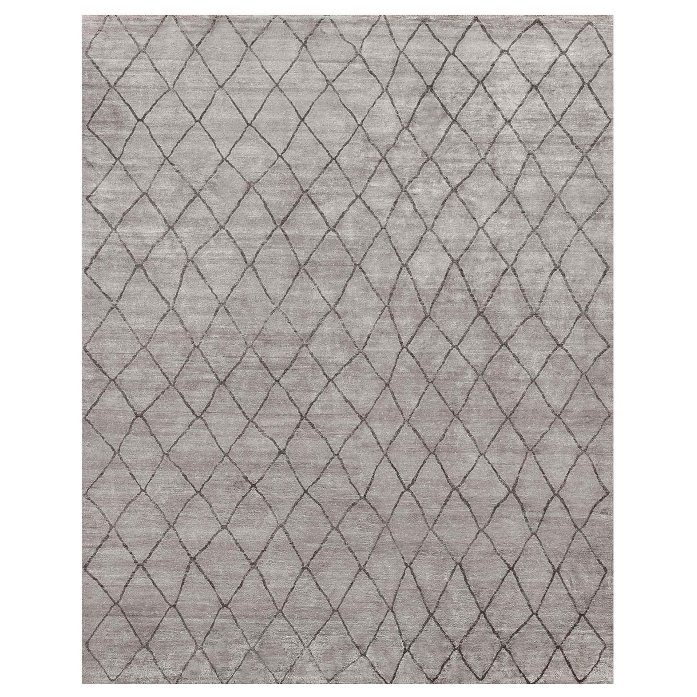 Ben Soleimani Arlequin Rug– Ultra-plush Hand-knotted Viscose Charcoal 10'x14'
