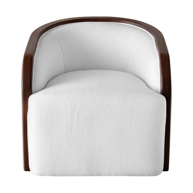 Ben Soleimani Artemis Barrel Upholstered + Wood Trim Chair