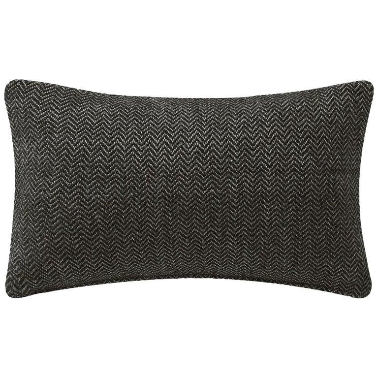 "Ben Soleimani Chevron Pillow Cover - Dark Green 13""x21"" For Sale"