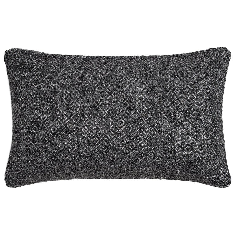 """Ben Soleimani Double Diamond Pillow Cover - Charcoal 13""""x21"""" For Sale"""