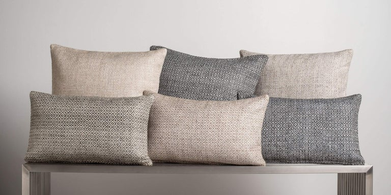 Rich in texture, woven with a subtly graphic pattern, our double-diamond pillow adds interest to your pillowscape, pair with our solid cashmere and textured pillows to round out your design. Pillow insert sold separately.  Size 26