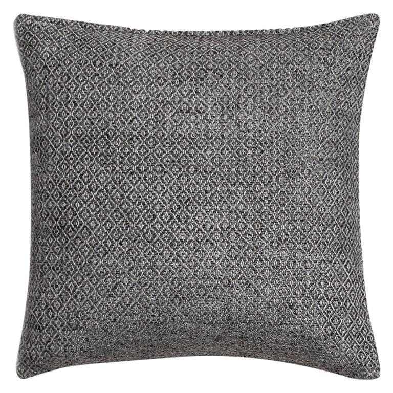 "Ben Soleimani Double Diamond Pillow Cover - Silver 22""x22"" For Sale"