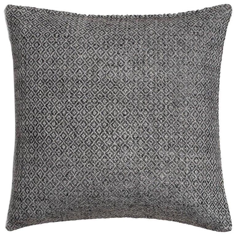 "Ben Soleimani Double Diamond Pillow Cover - Silver 26""x26"" For Sale"